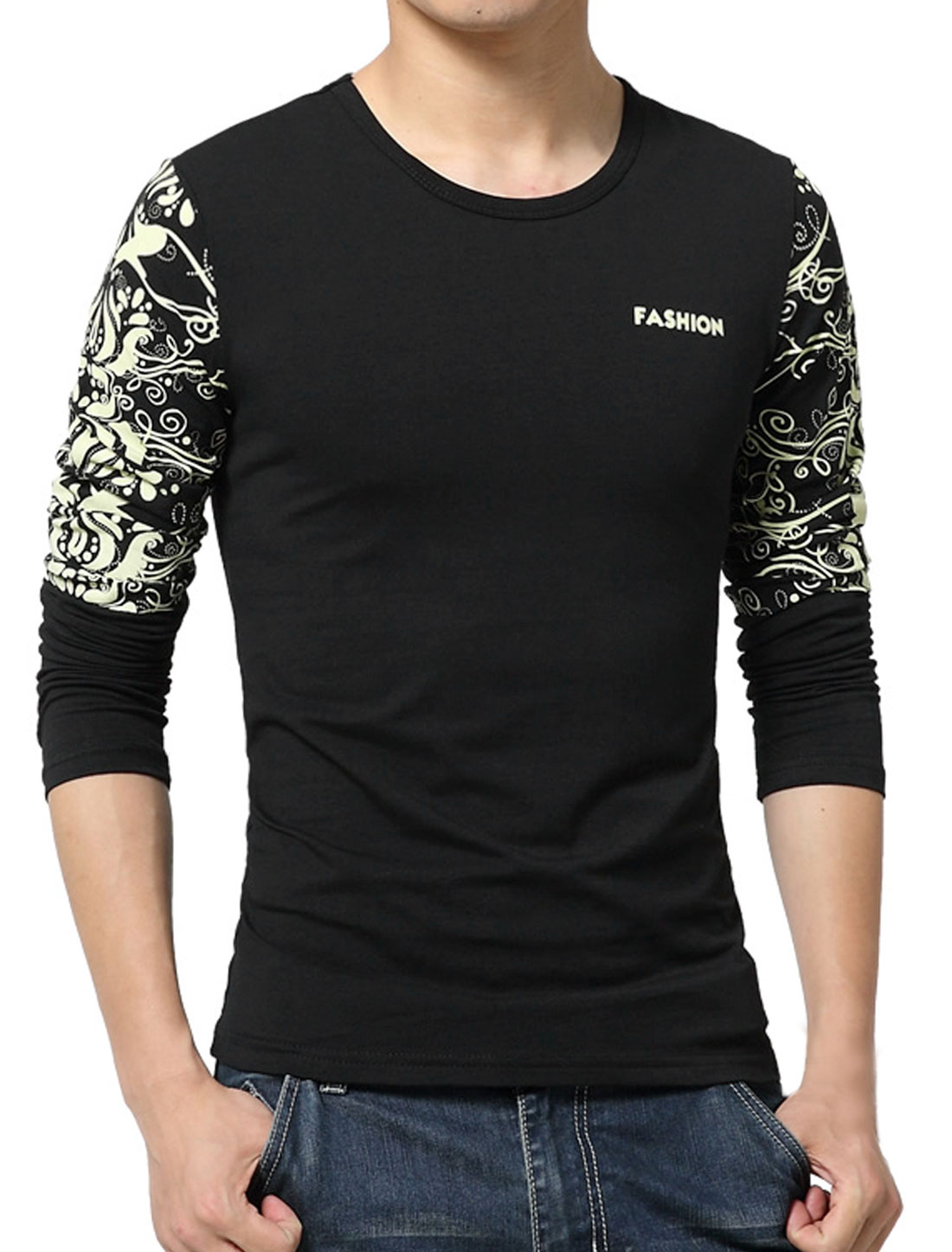 Men Long Sleeves Letters Novelty Slim Fit T-Shirt Black S