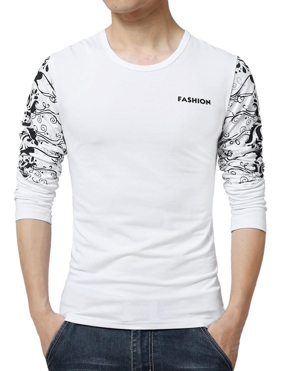 Men Long Sleeves Letters Novelty Slim Fit T-Shirt White S