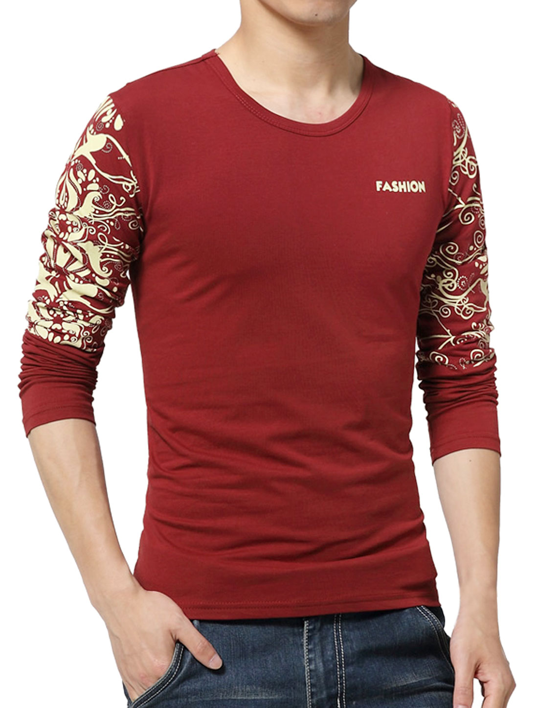 Men Long Sleeves Letters Novelty Slim Fit T-Shirt Red S