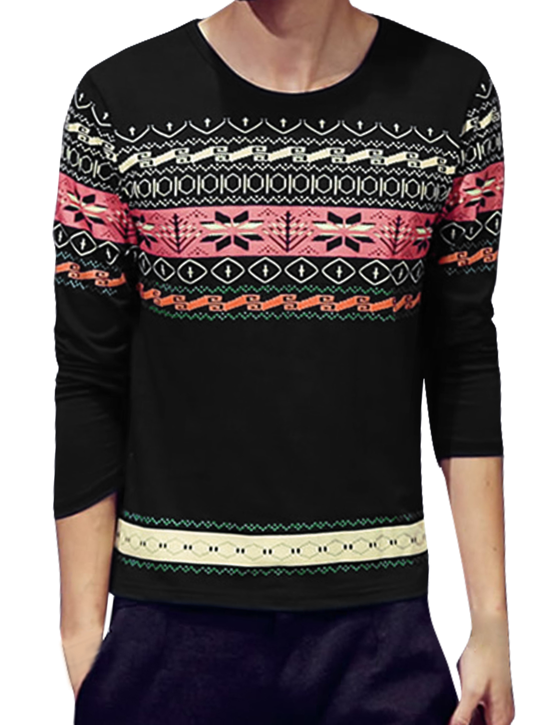 Men Long Sleeves Snowflake Geometric Tee Shirt Black S