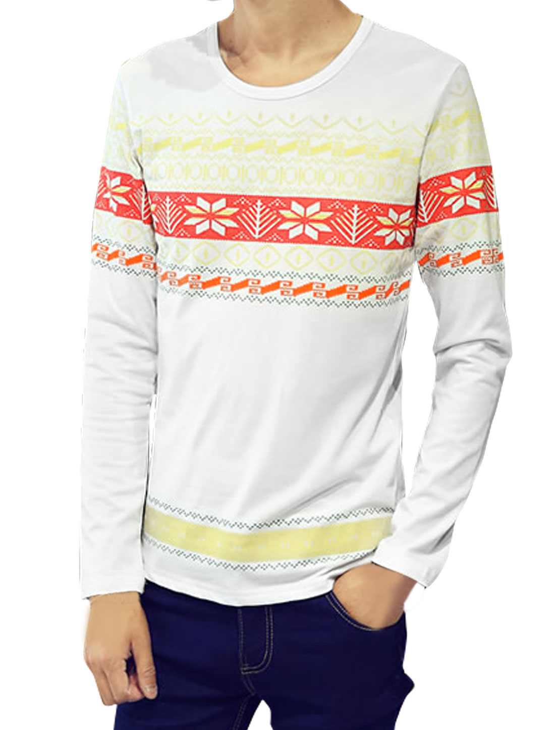 Men Long Sleeves Snowflake Geometric Tee Shirt White S