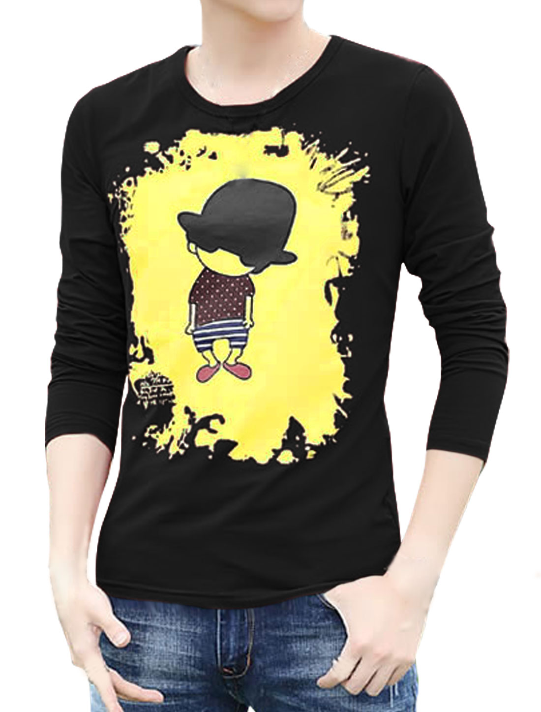 Men Long Sleeves Cartoon Slim Fit Tee Shirt Black S