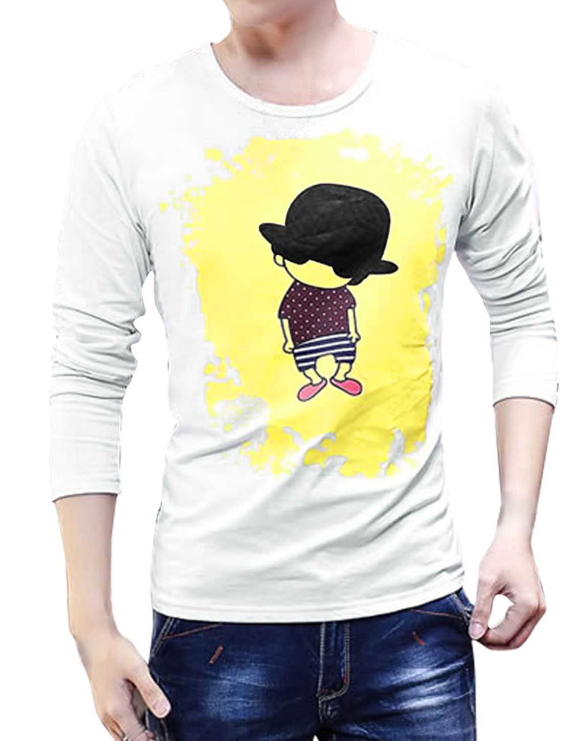 Men Long Sleeves Cartoon Slim Fit Tee Shirt White S