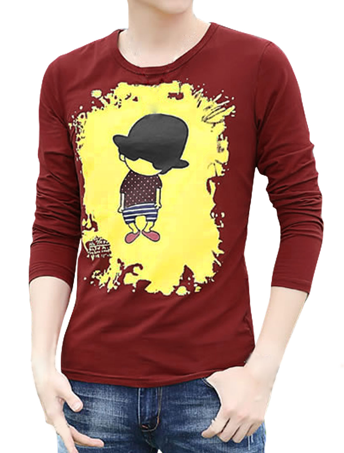 Men Long Sleeves Cartoon Slim Fit Tee Shirt Red S