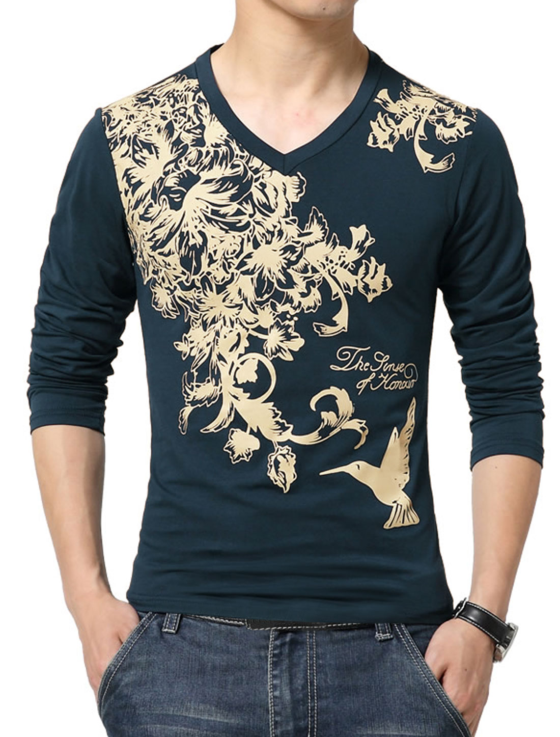 Men V Neck Long Sleeves Slim Fit Floral Tee Shirt Blue S