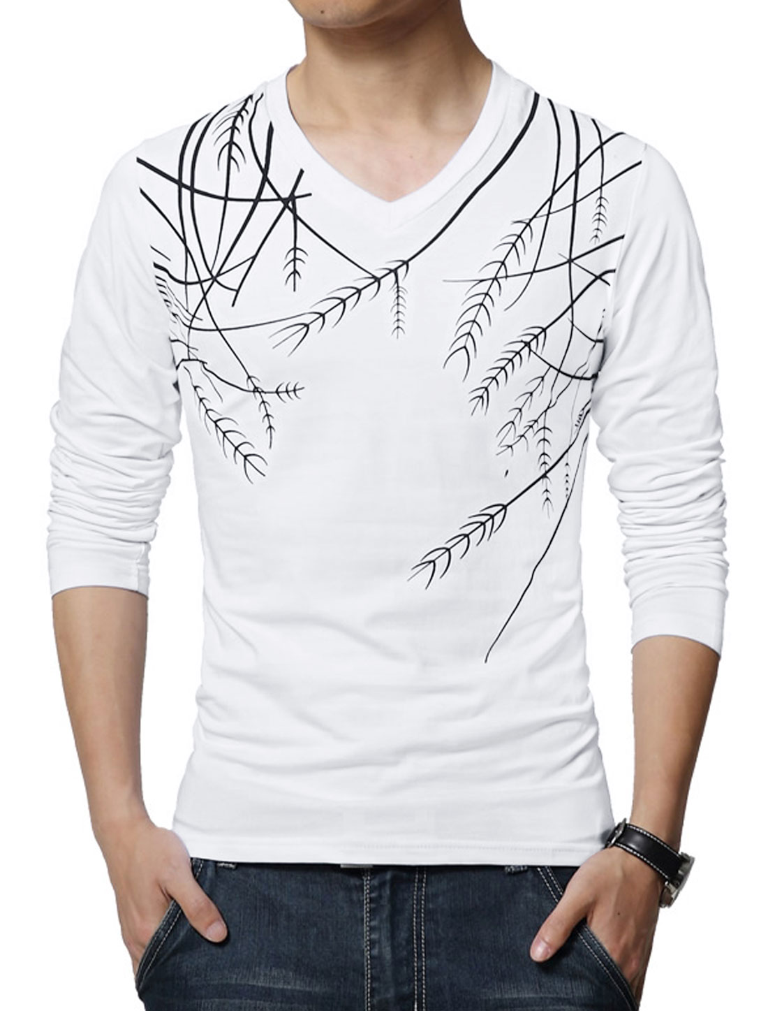 Men V Neck Long Sleeves Plants Print Tee Shirt White S