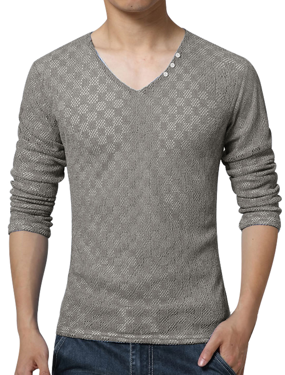 Men V Neck Long Sleeves Plaids Mesh Top Light Gray S