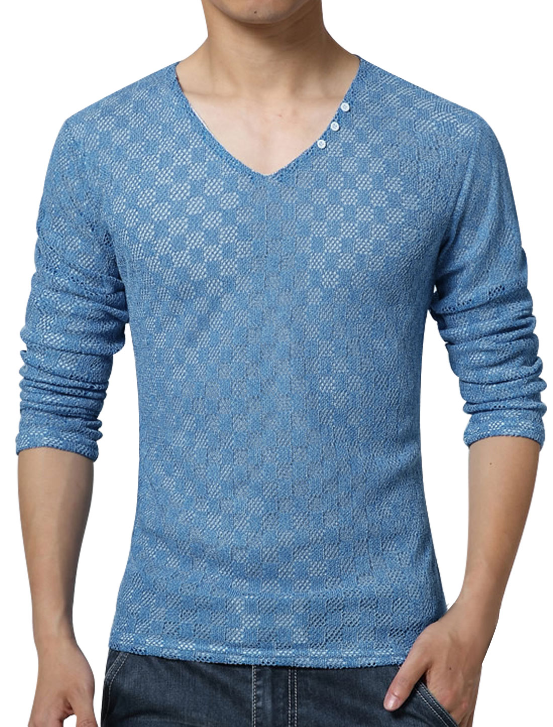 Men V Neck Long Sleeves Slim Fit Plaids Mesh Top Light Blue S
