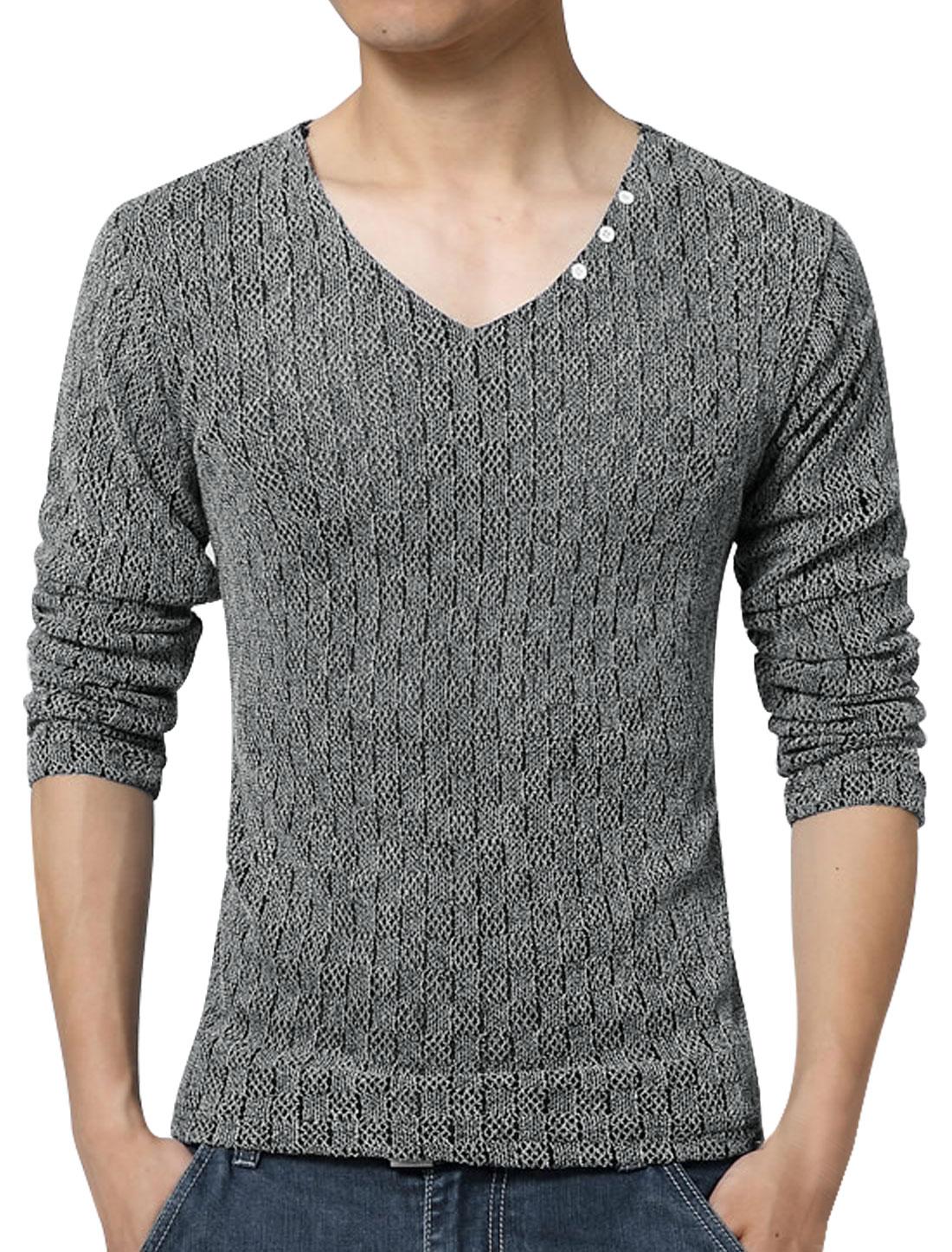 Men V Neck Long Sleeves Plaids Mesh Top Dark Gray S
