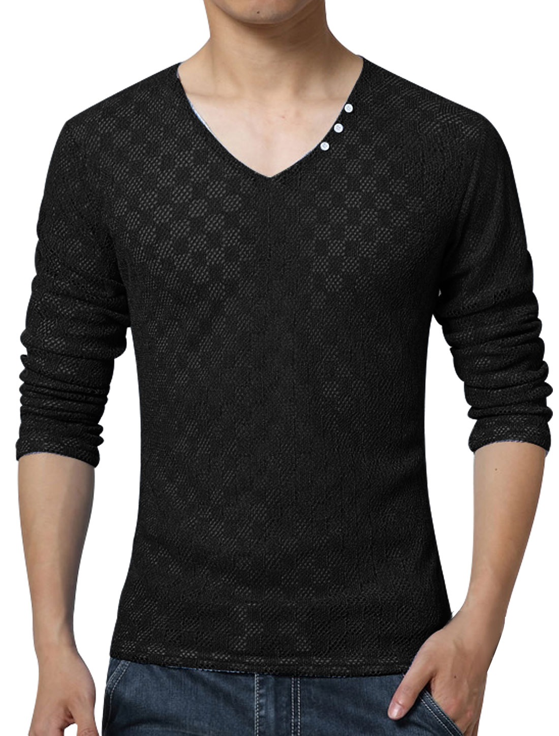 Men V Neck Long Sleeves Slim Fit Plaids Mesh Top Black S