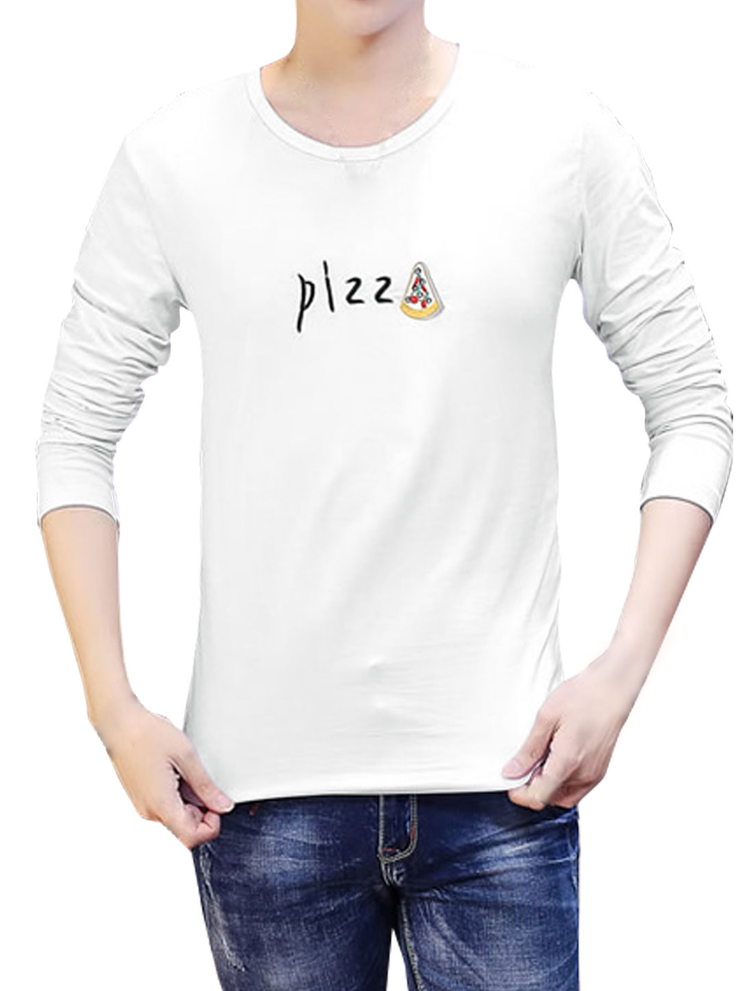 Men Long Sleeves Letters Pizza Embroidery T-Shirt White S