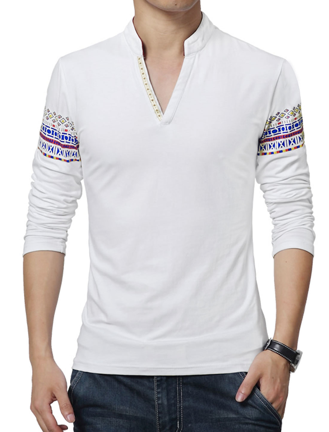 Men V Neck Long Sleeves Geometric T-Shirt White S