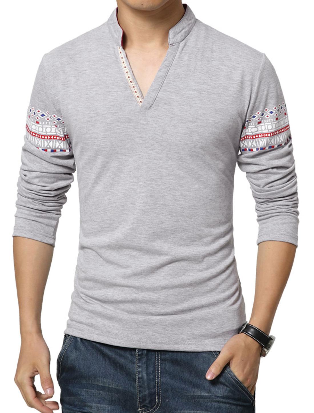 Men V Neck Long Sleeves Geometric T-Shirt Gray S
