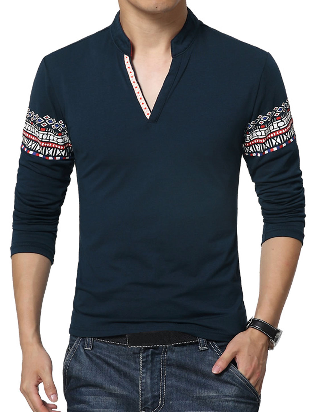 Men V Neck Long Sleeves Geometric T-Shirt Blue S