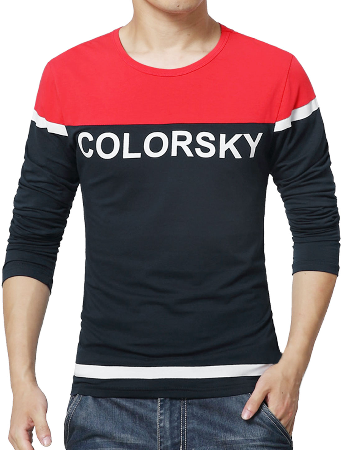 Men Long Sleeves Letters Color Block T-Shirt Red S