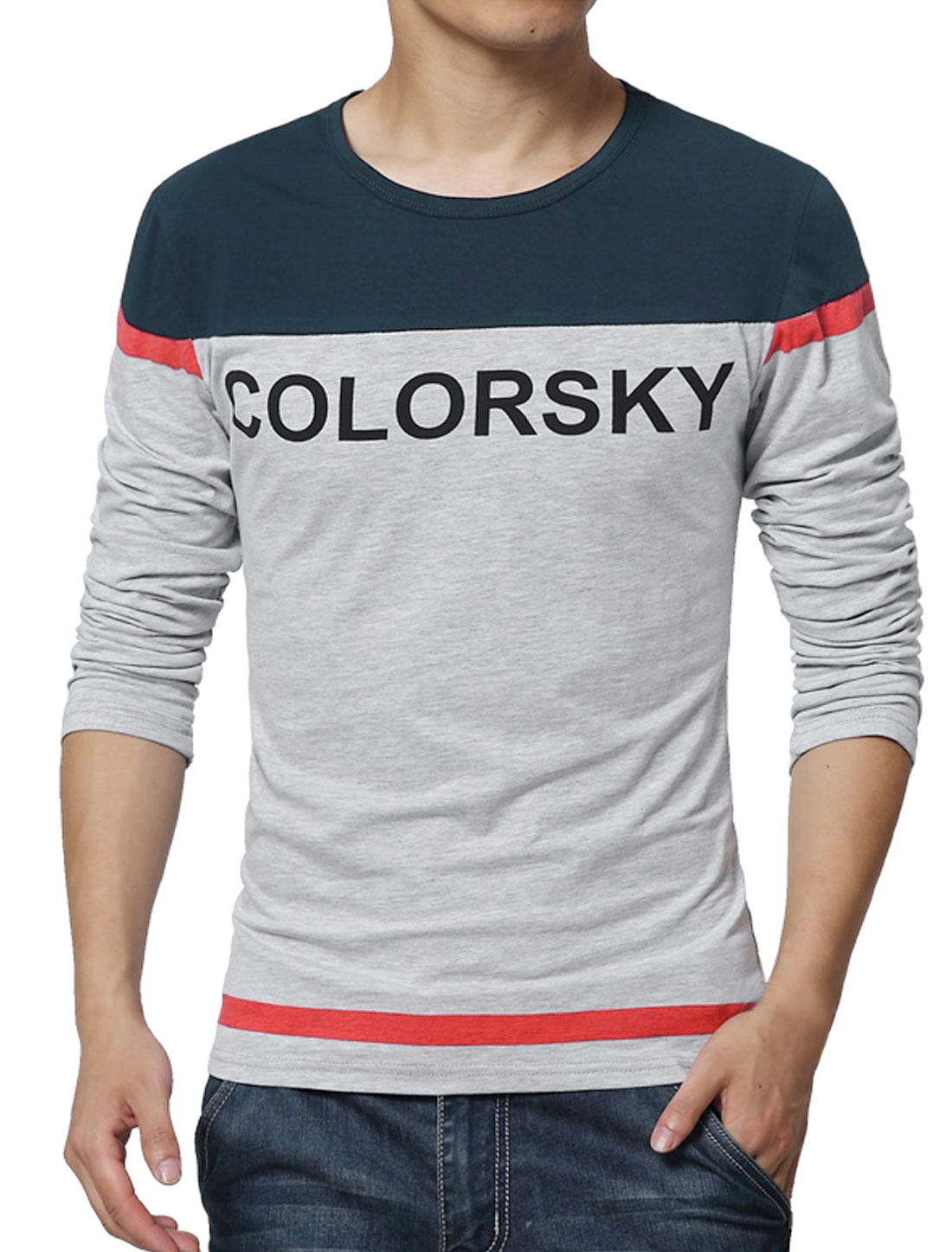 Men Long Sleeves Letters Color Blcok T-Shirt Navy Blue S