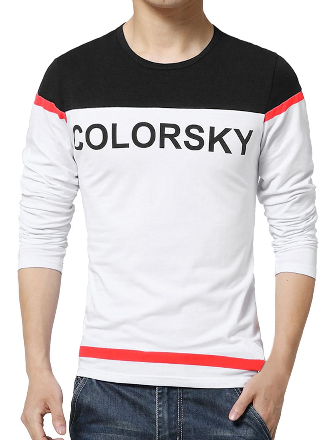 Men Long Sleeves Letters Color Block T-Shirt Black S
