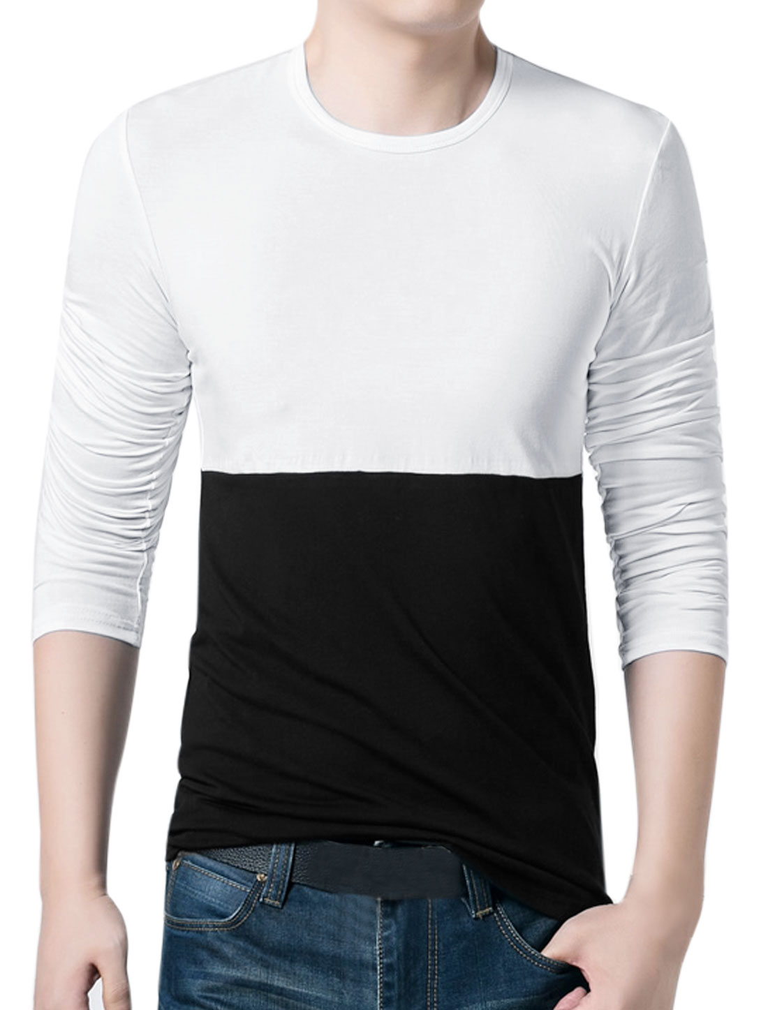 Men Crew Neck Long Sleeves Color Block Slim Fit T-Shirt White Black S