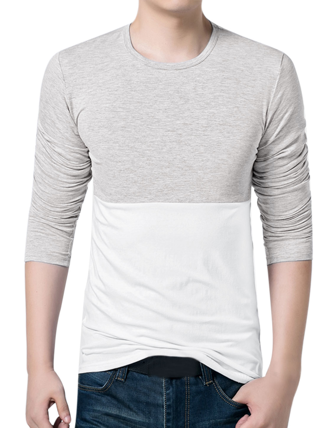 Men Crew Neck Long Sleeves Color Block Slim Fit T-Shirt Gray White S