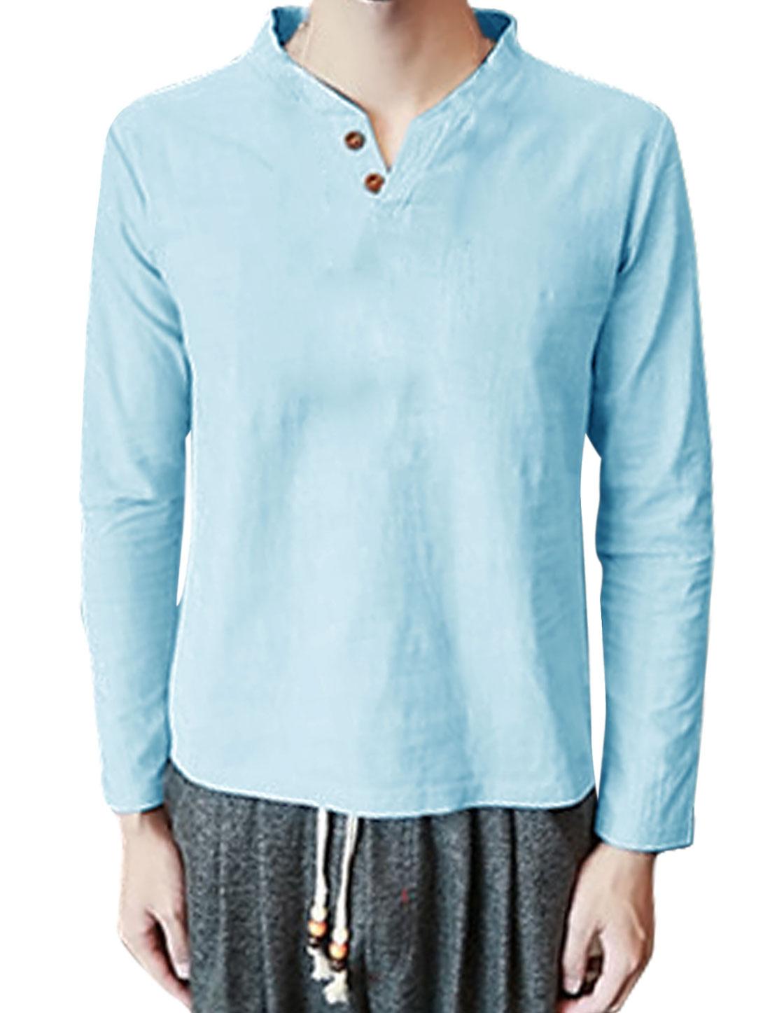 Men Split Neck Long Sleeves Buttoned T-Shirt Light Blue S