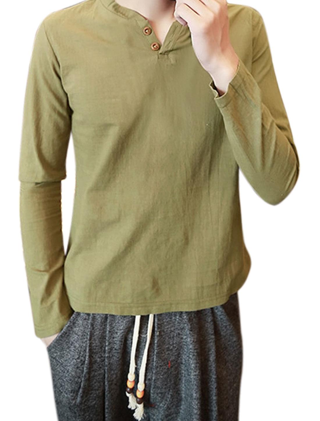 Men Split Neck Long Sleeves Buttoned T-Shirt Green S
