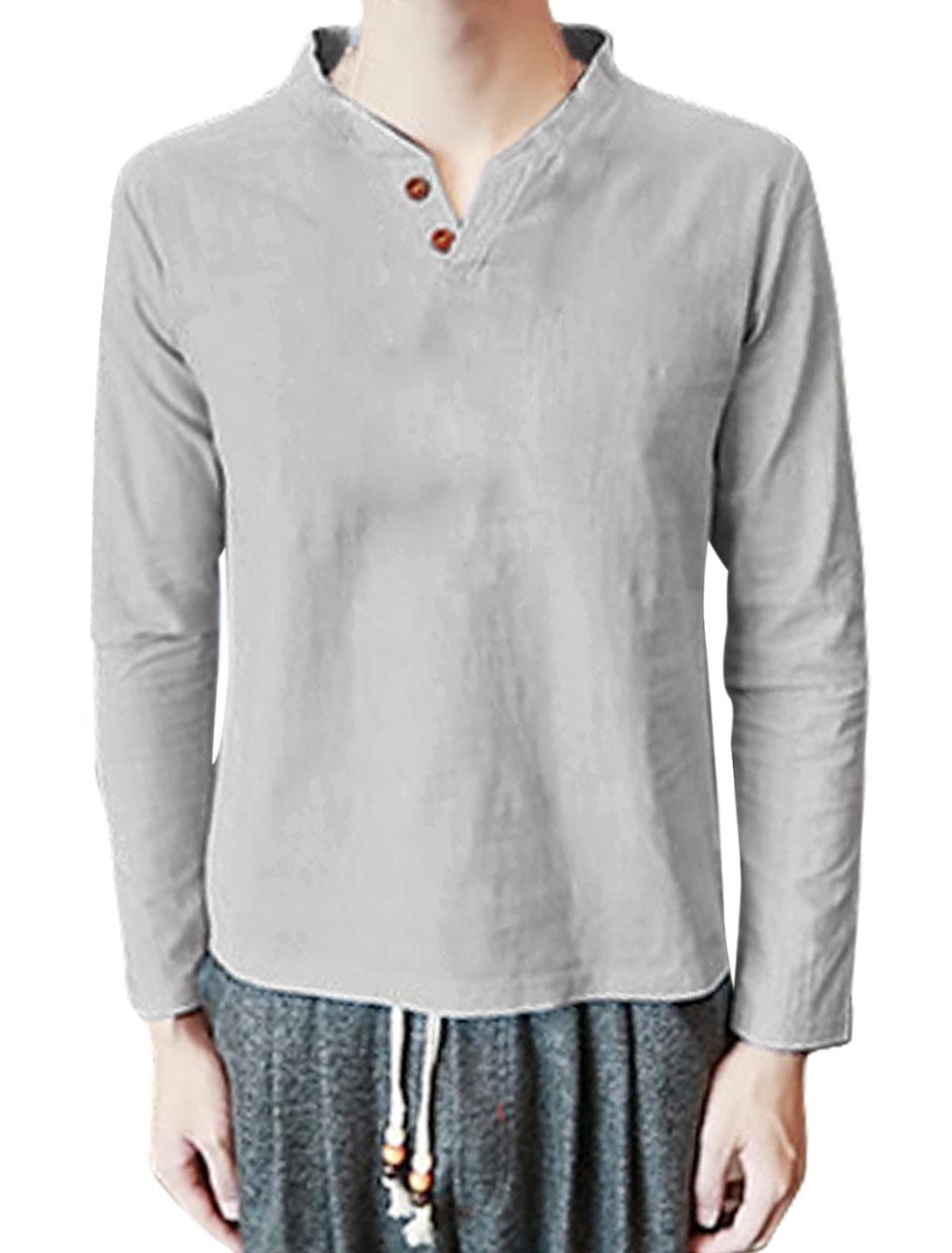 Men Split Neck Long Sleeves Buttoned T-Shirt Gray S