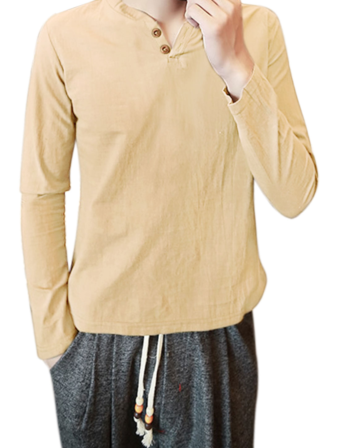 Men Split Neck Long Sleeves Buttoned T-Shirt Beige S