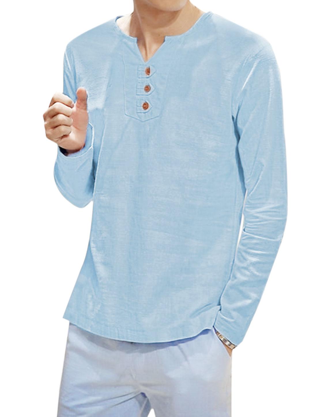 Men Long Sleeves Buttons Embellished T-Shirt Light Blue S