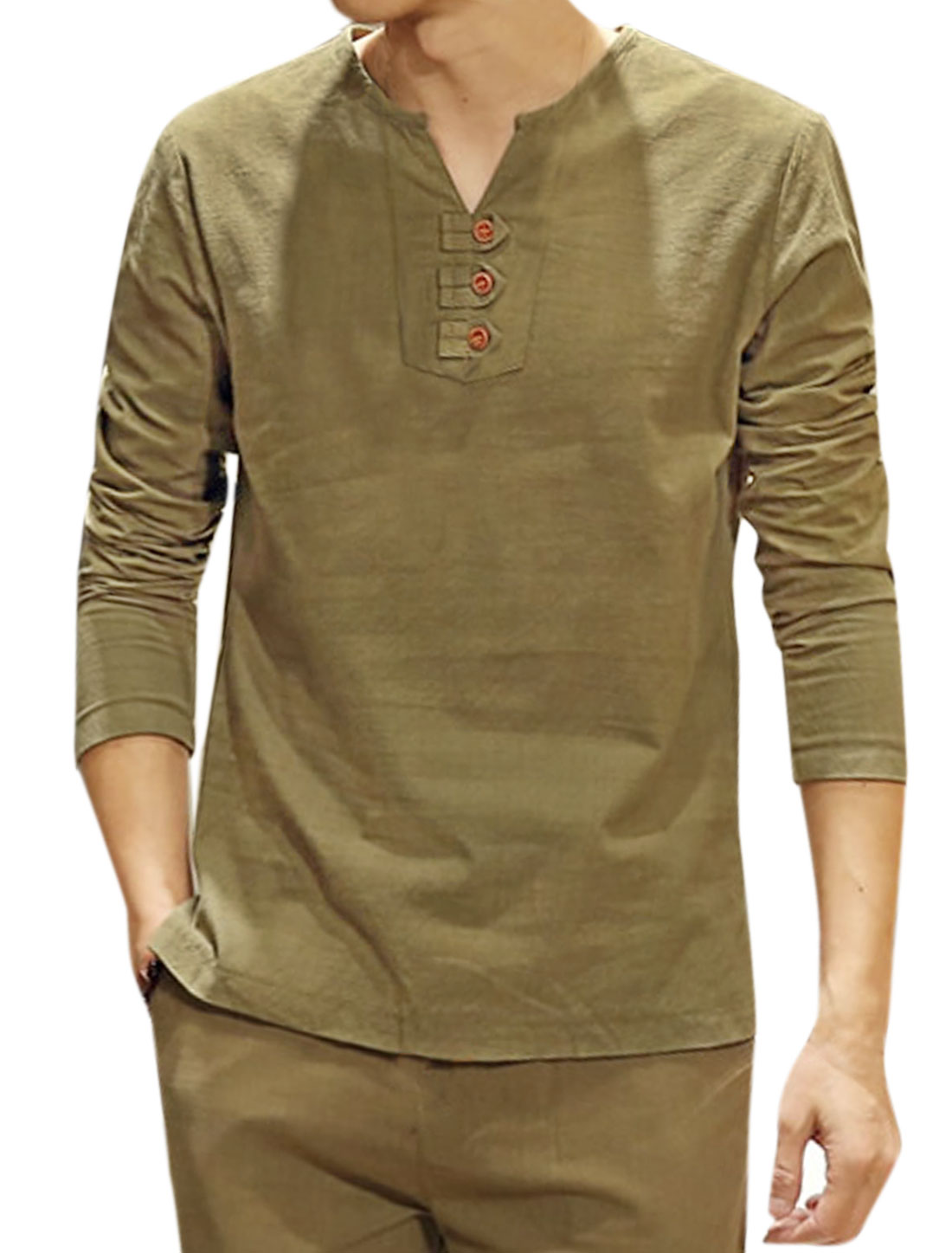 Men Long Sleeves Buttons Embellished T-Shirt Green S