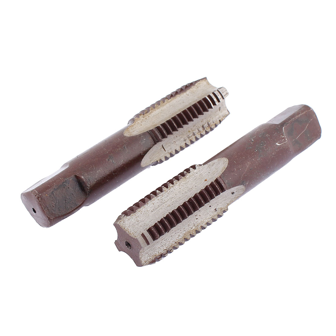 M24 x 2 Metric Brown Straight Threaded 4 Flutes Hand Taper Taps Threading Tools 2 Pcs