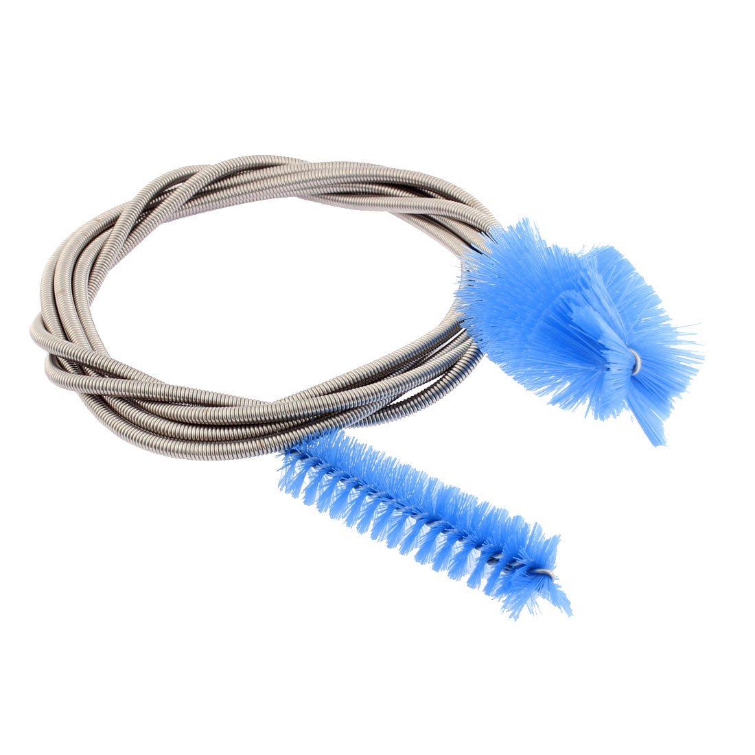"66"" Total Length Silver Tone Flexible Spring Cleaning Tool Double Ended Tube Filter Pump Hose Pipe Blue Brush Blue for Aquarium Fish Tank"