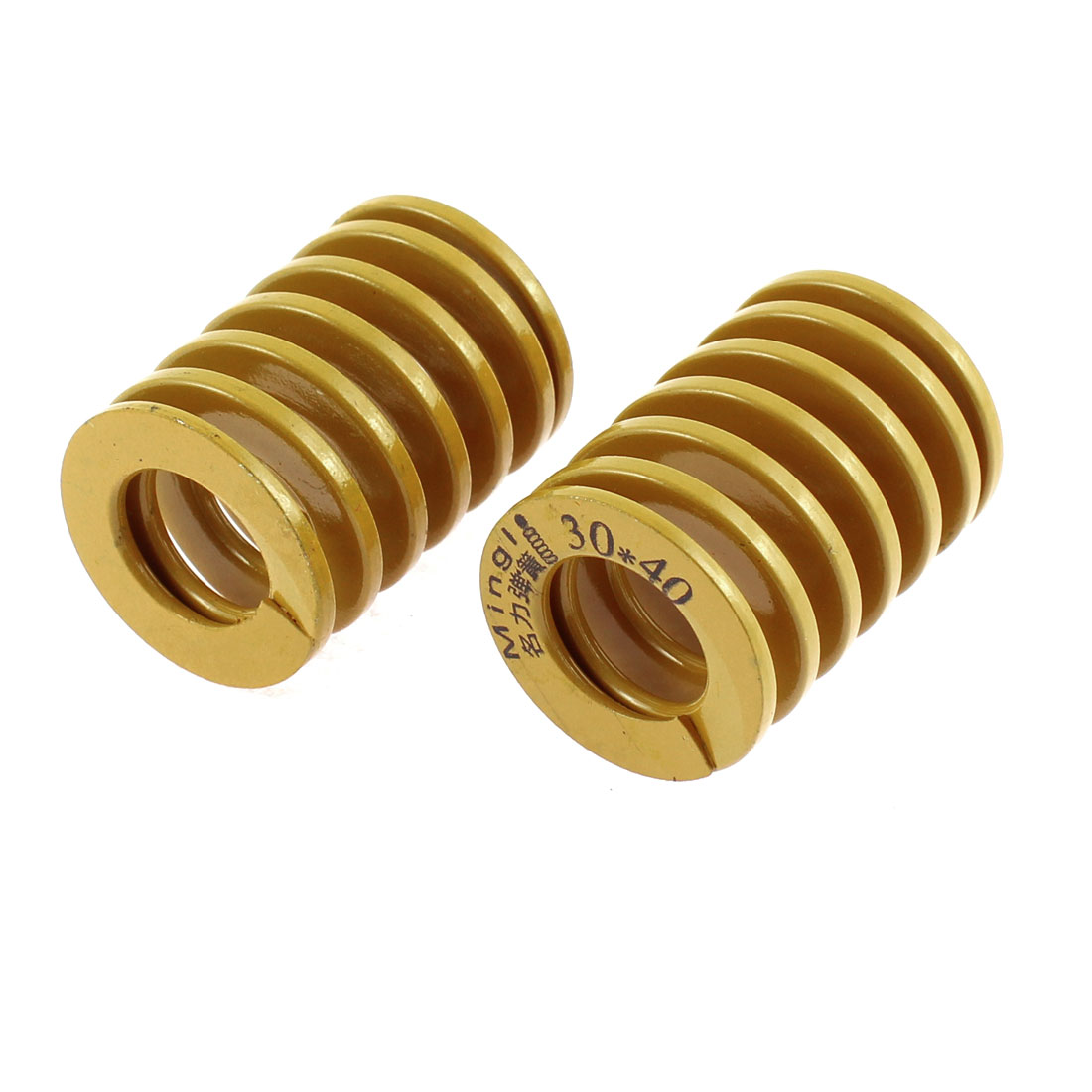 30mm OD 40mm Long Light Load Coil Stamping Compression Mold Die Spring Yellow 2 Pcs