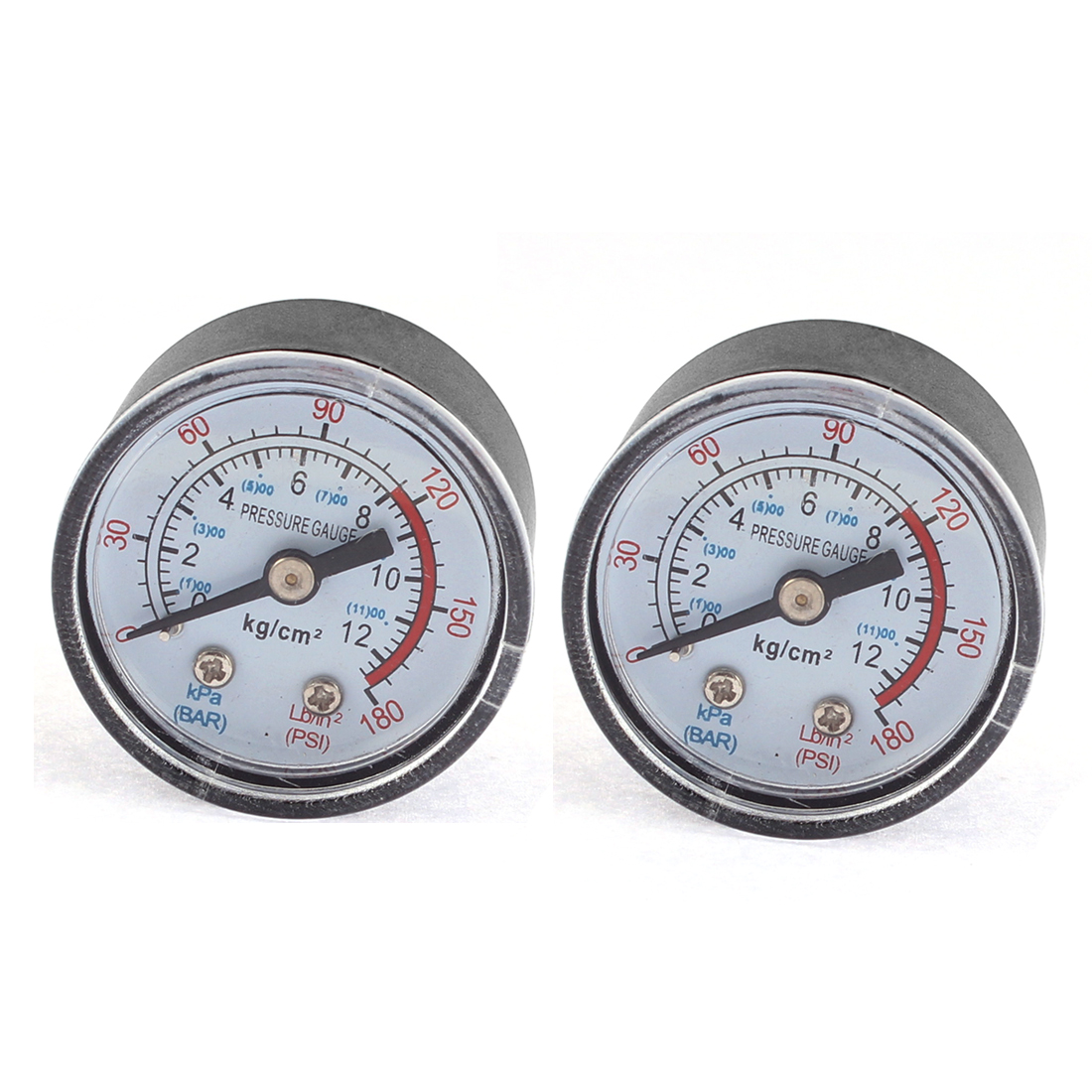 Horizontal Mount 0-11Bar 0-180PSI 1/8BSP Male Thread Round Dial Air Compressor Pressure Hydraulic Gauge 2 Pcs