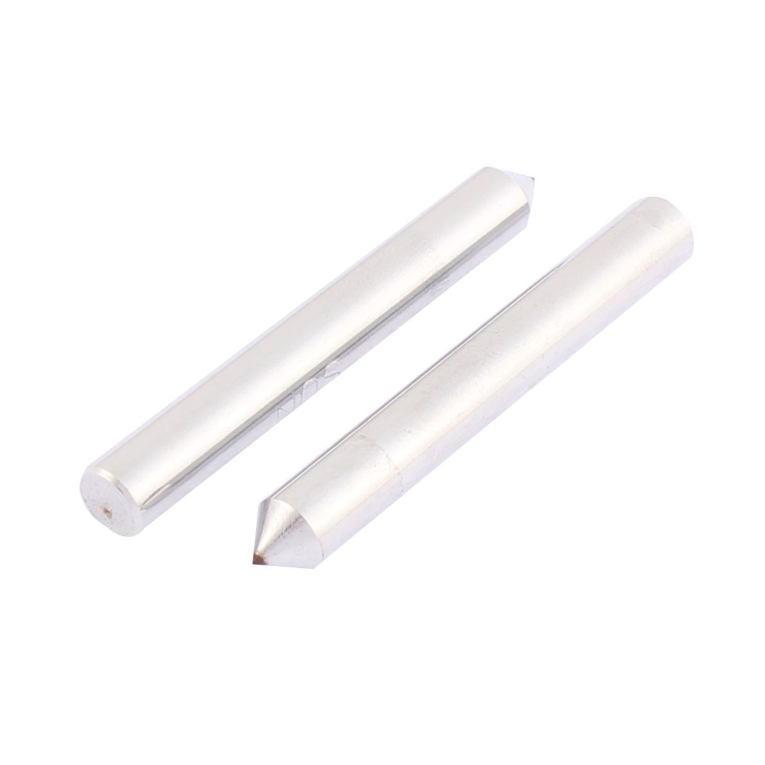6.3mm Dia 48mm Length 0.50mm Tip Round Shank Side Wheel Grinding Wheel Diamond Dresser Pen 2 Pcs Silver Tone