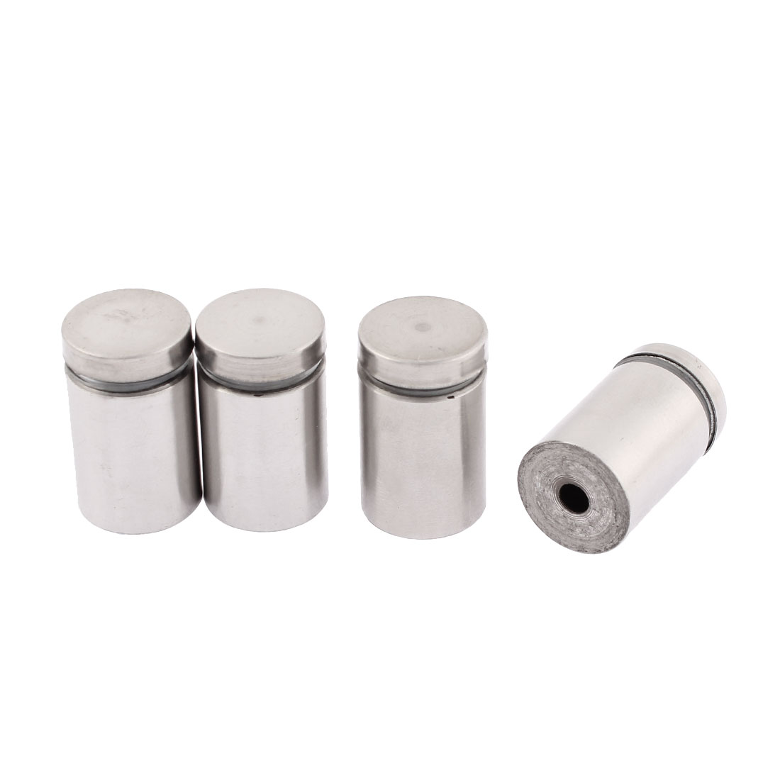 4 Pcs 24mm Base 19mm x 30mm Silver Tone Stainless Steel Standoff Hardware Clamp Nail for Glass Advertising Picture Poster Frame Hanger