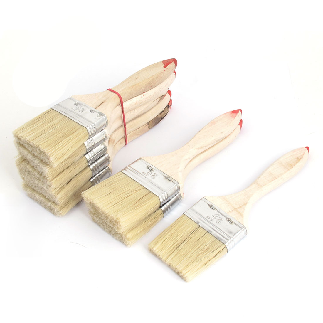 "Painter Wood Nonslip Handle Brushes Nylon Hair Paint Painting Background Blending Wall Brush 8 Pcs 2.5"" Width Beige"