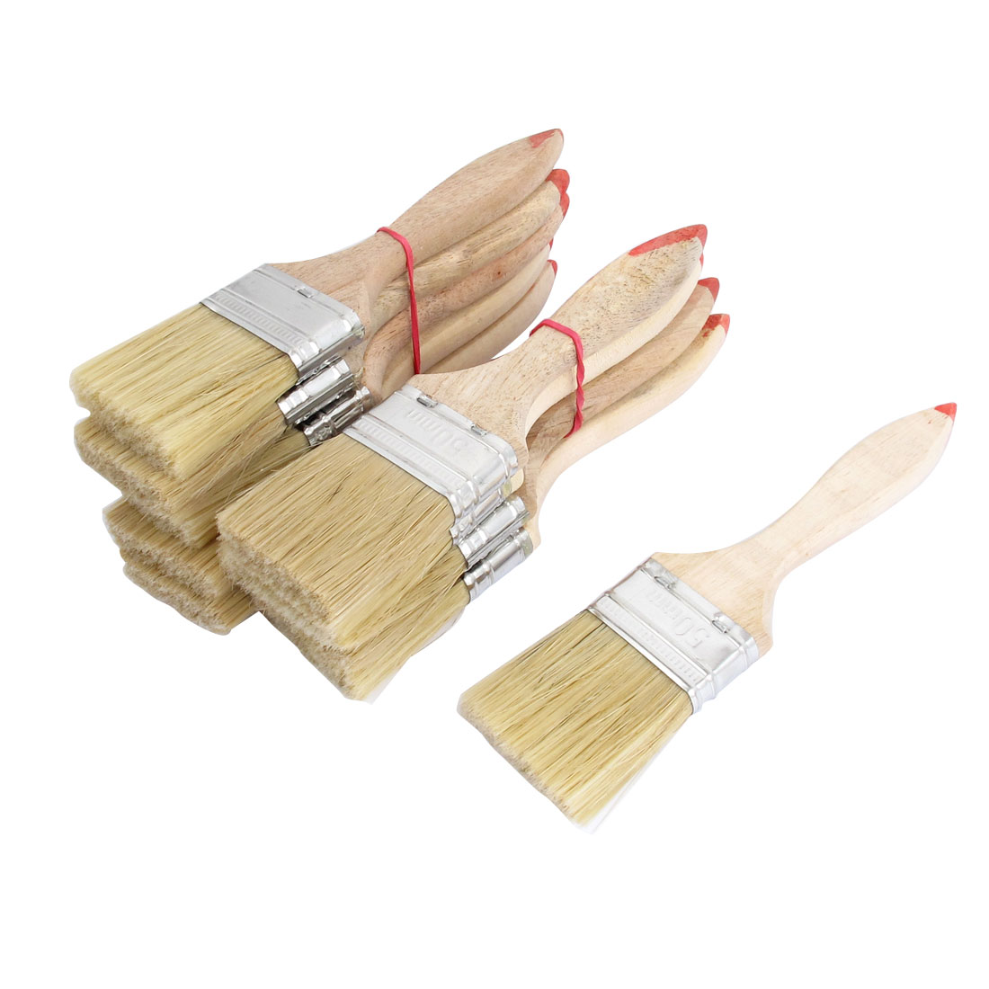 "Painter Wood Nonslip Handle Brushes Nylon Hair Paint Painting Background Blending Wall Brush 10 Pcs 2"" Width Beige"