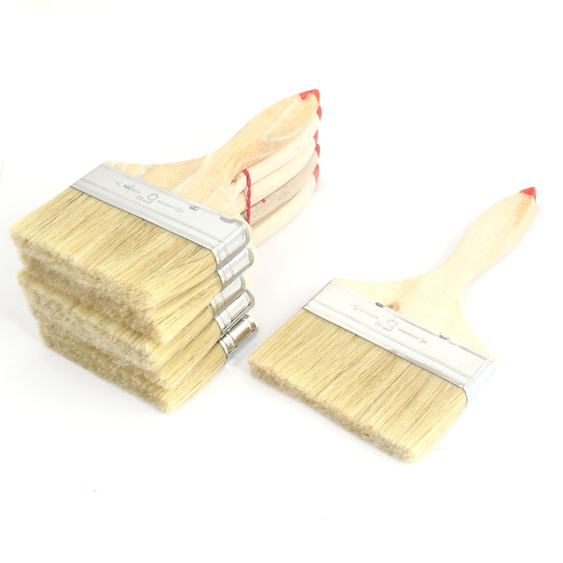 "Painter Wood Nonslip Handle Brushes Nylon Hair Paint Painting Background Blending Wall Brush 6 Pcs 5"" Width Beige"