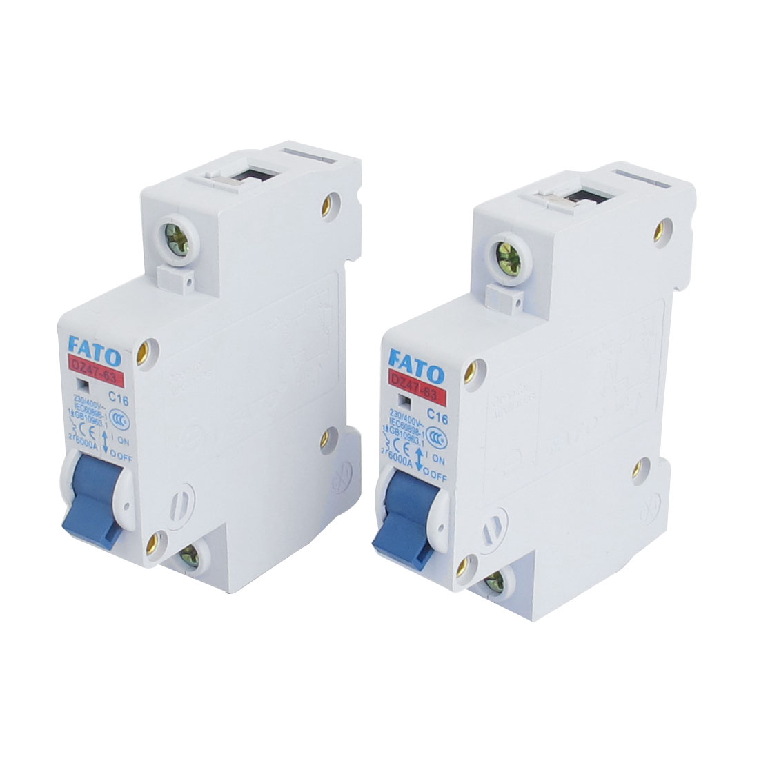 2 Pcs 6000A Breaking Capacity 1 Pole 35mm DIN Rail Mounted Miniature Circuit Breakers AC 230/400V DZ47-63 C16
