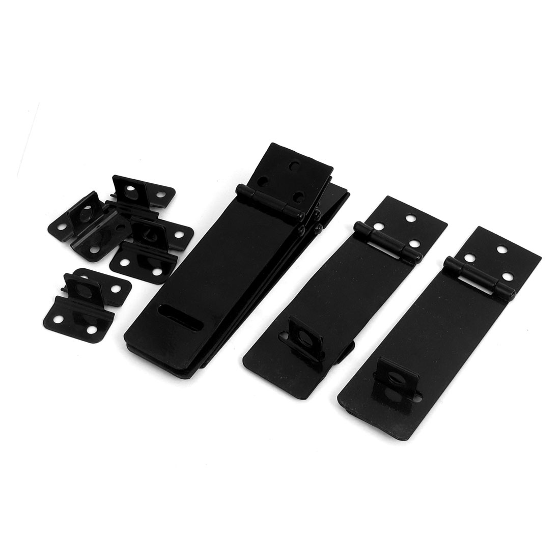 6 Set Shed Fence Door Cupborad Gate Safety Latch Catch Lock Black Metal Padlock Hasp Staple Fittings 117mm Long