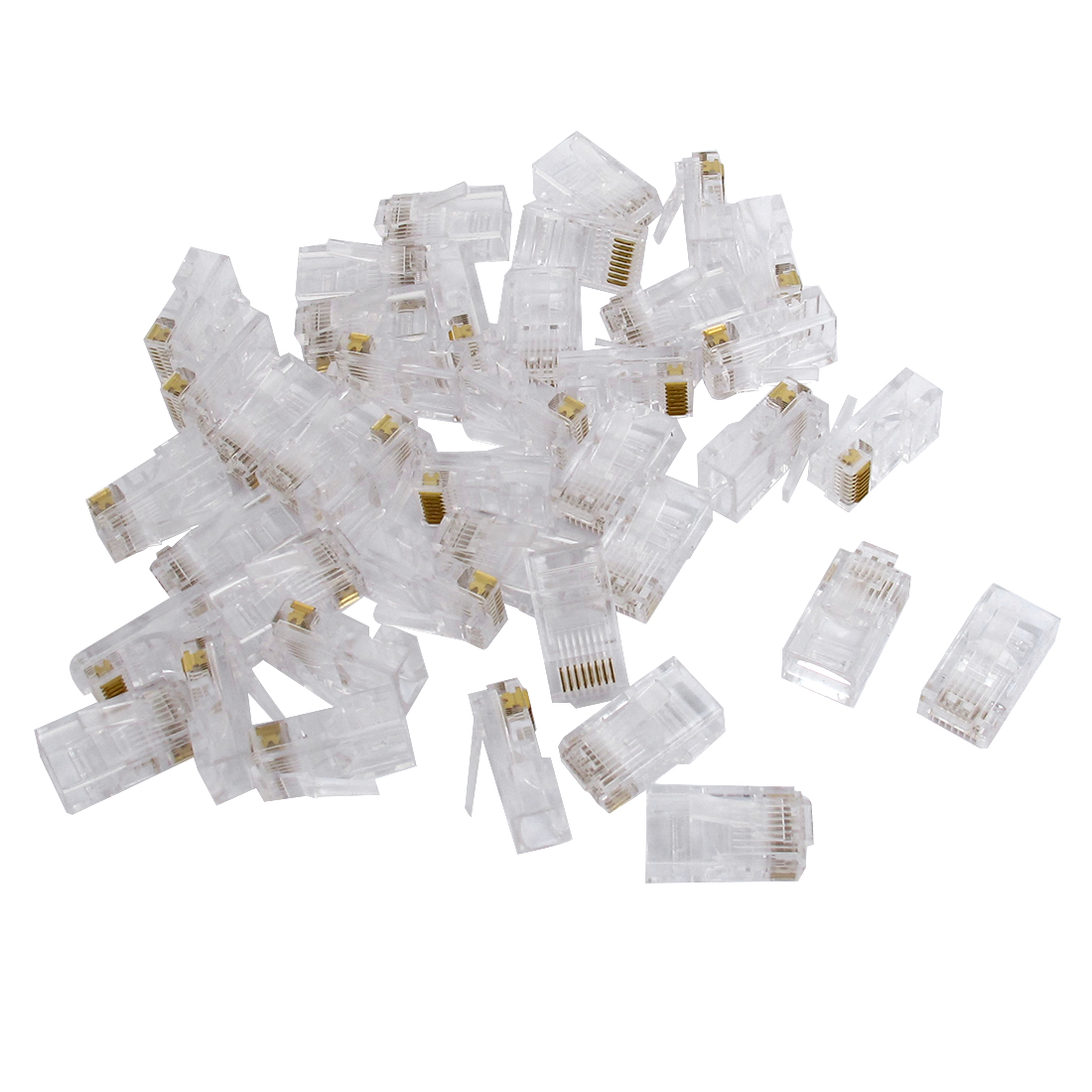 40 Pcs RJ45 8P8C Modular Plug Network Crimp Adapter Ethernet Cable Wire Connector End