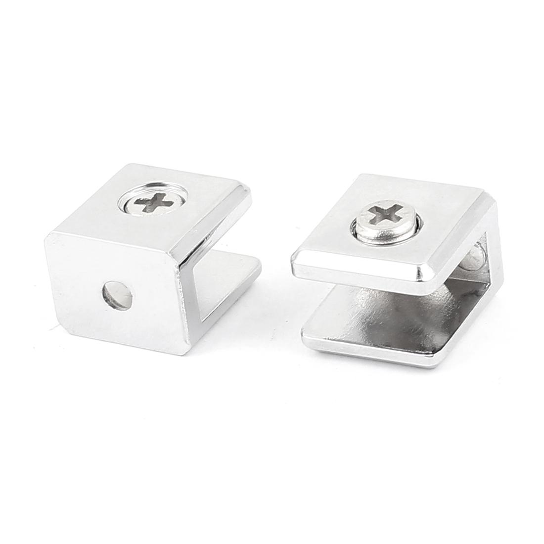 5mm-7mm Adjustable Cabinet Glass Rectangle Clip Clamps Bracket Holder 2pcs