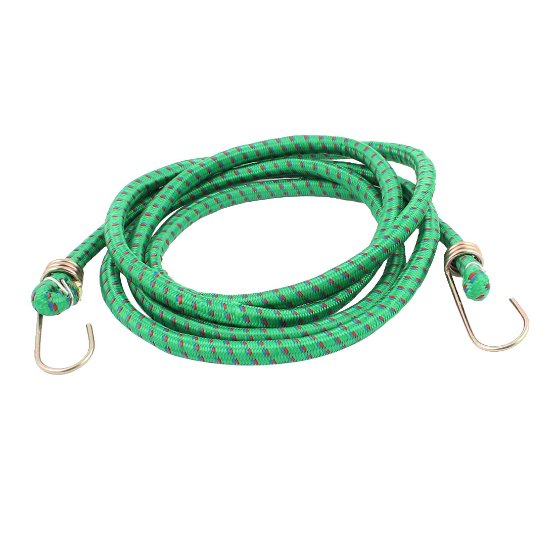 Nylon Elastic Striped Strap Metal Dual Hooks Car Bike Luggage Cord Green