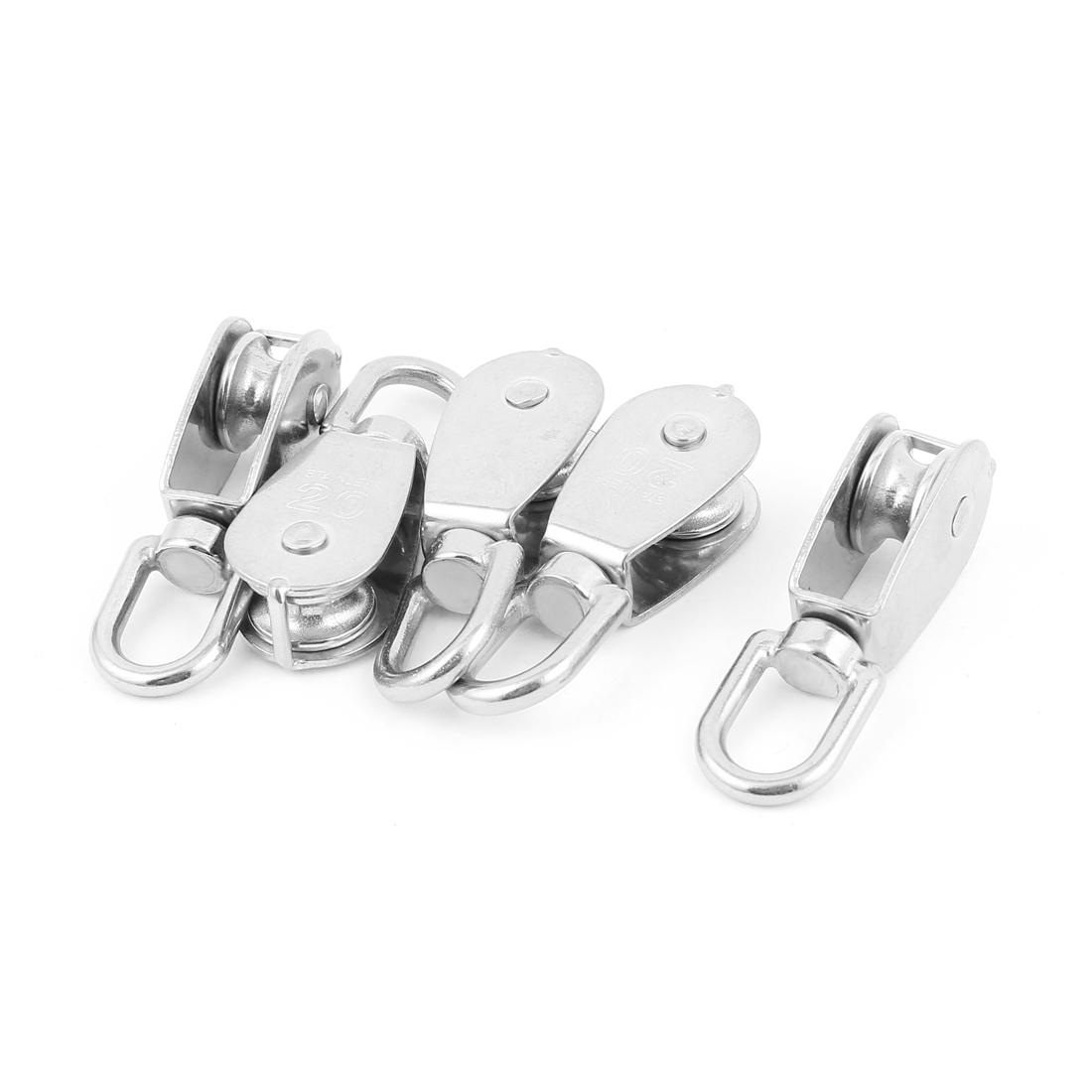 0.02 Ton Single Wheel Swivel Wire Hoist Rope Pulley Silver Tone 5 Pcs