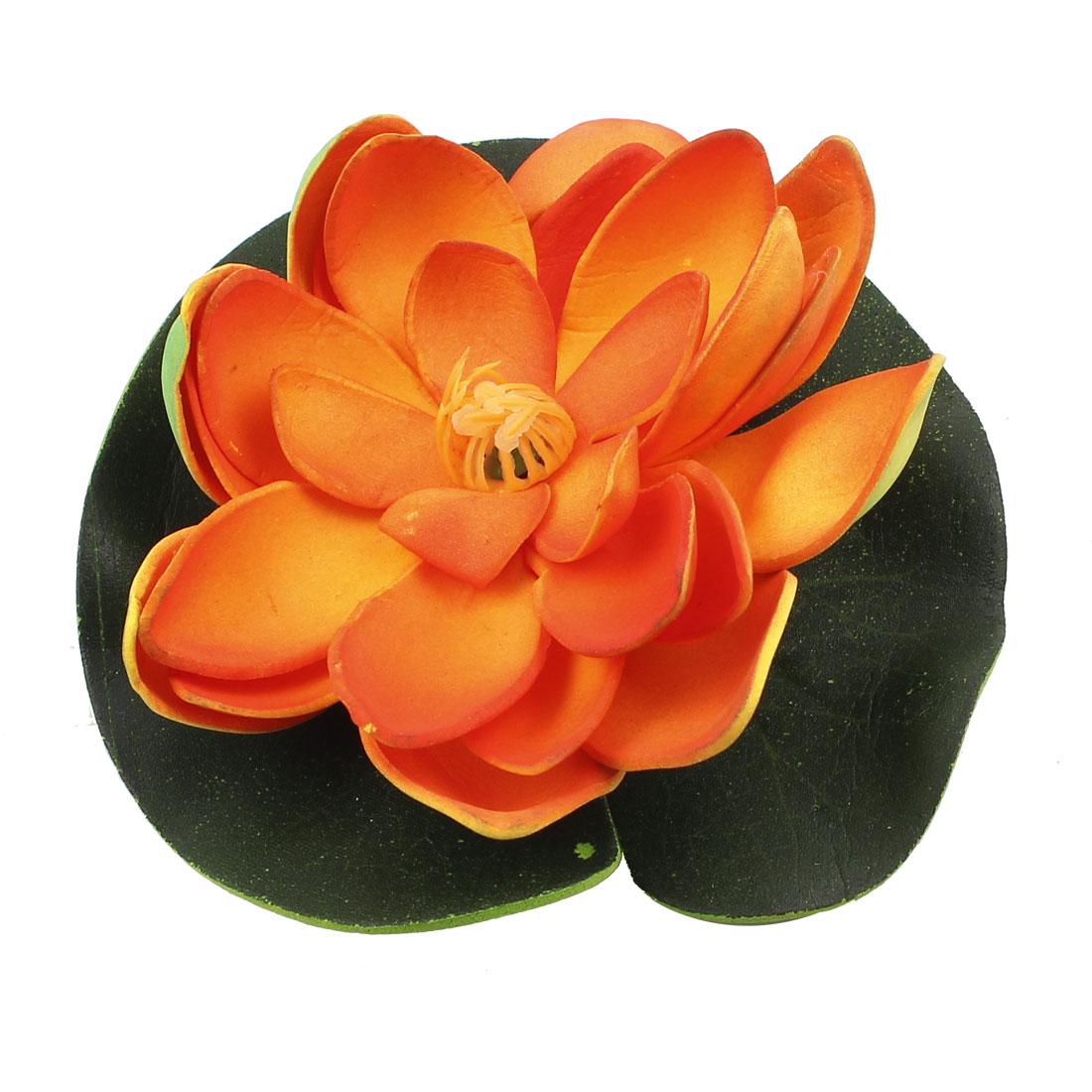 Foam Artificial Plants Lotus Shaped Aquarium Fish Tank Decoration Orange Green