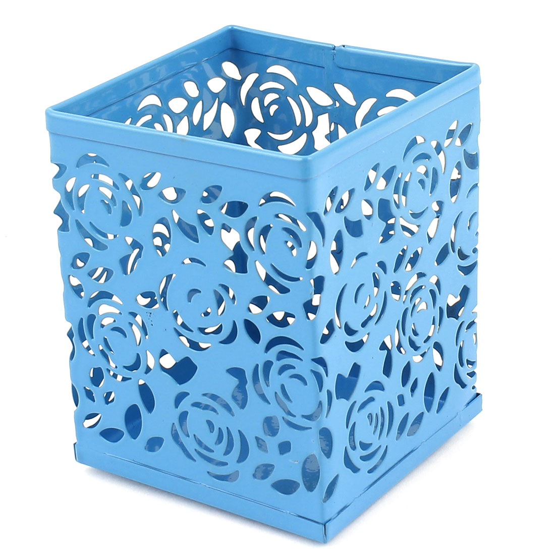 Metal Hollow Out Flowers Design Pencil Pen Holder Container Blue