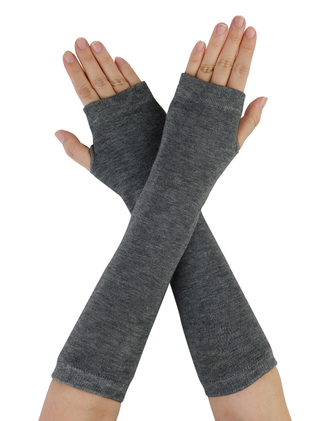 Unisex Elastic Fingerless Arm Warmers Gloves Dark Gray Pair