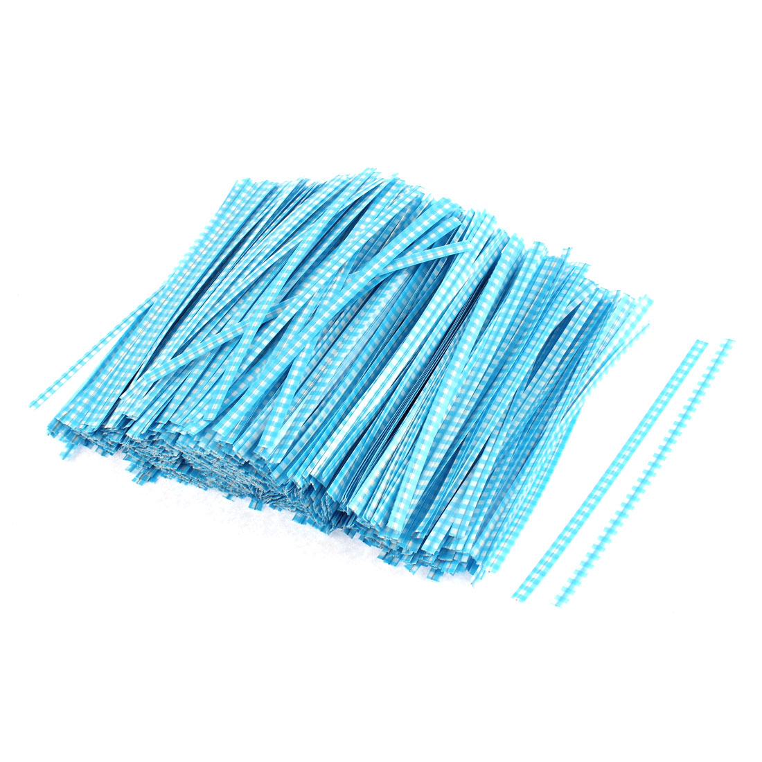 Grid Pattern Bakery Candy Bags Packaging Twist Ties Sky Blue 1200PCS