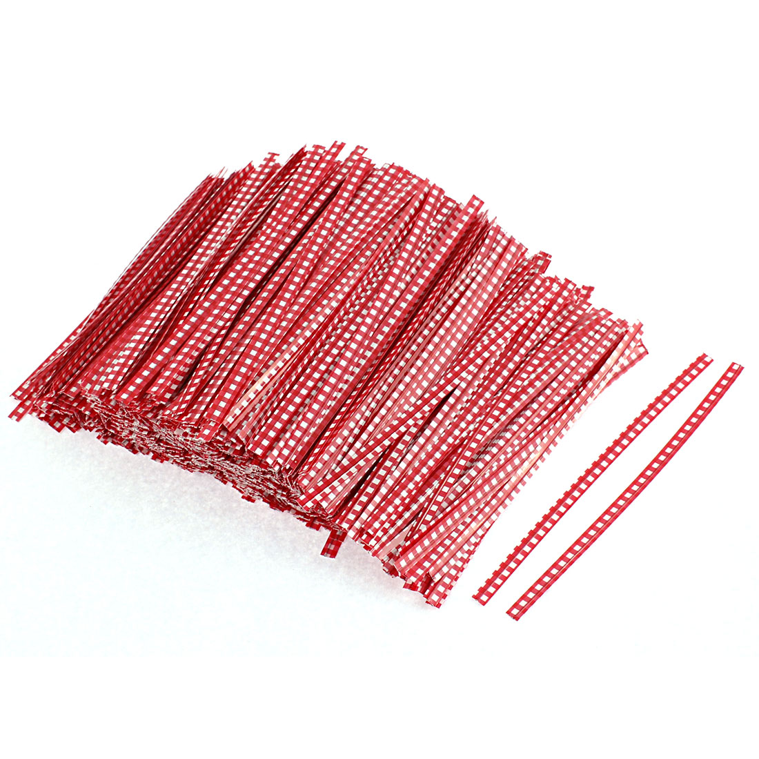 Grid Pattern Bakery Candy Bags Packaging Twist Ties Red 1200PCS
