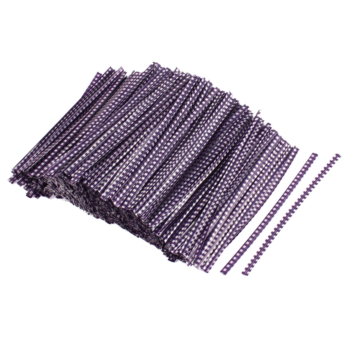 Grid Pattern Bakery Candy Bags Packaging Twist Ties Purple 1200PCS